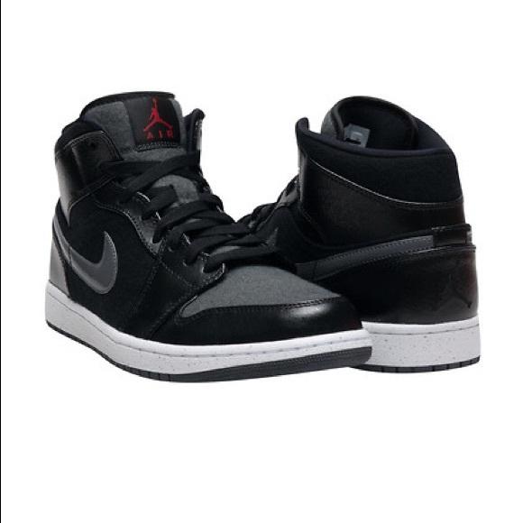 best sneakers 7c160 3acd3 Air Jordan 1 Mid Premium Sneakers Black Grey Sz 12